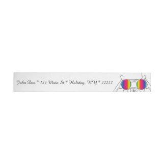 Rainbow Hippie Dog Wraparound Address Label