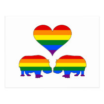 Rainbow hippos postcard