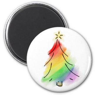 Rainbow Holiday Tree 2 Inch Round Magnet