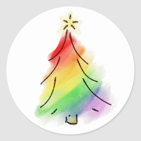 Rainbow Holiday Tree Classic Round Sticker