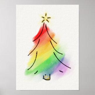 Rainbow Holiday Tree Poster