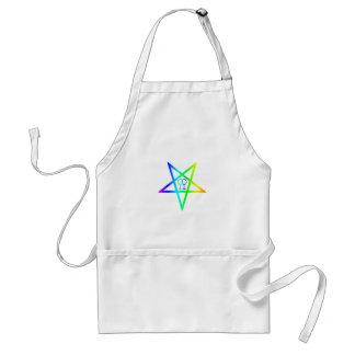 Rainbow Homosexual Female Inverted Pentagram Adult Apron