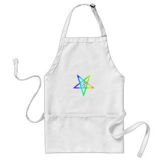 Rainbow Homosexual Male Inverted Pentagram Adult Apron