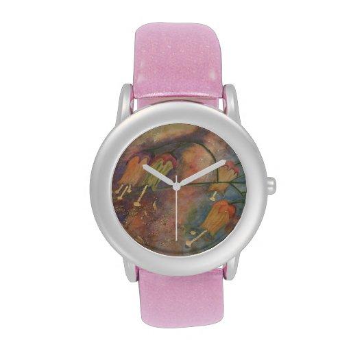 Rainbow honeysuckle flowers wrist watch