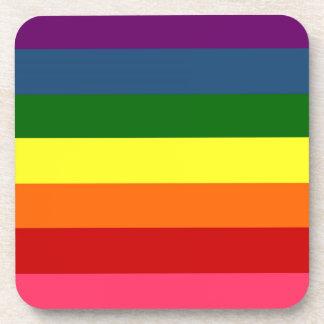 Rainbow Horizontal Stripes Beverage Coaster