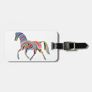 Rainbow horse design luggage tag