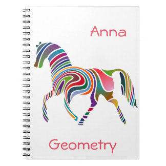Rainbow horse design spiral notebook