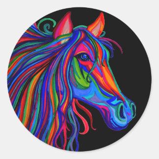 rainbow horse head classic round sticker