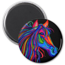 rainbow horse head magnet
