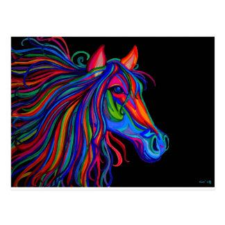 rainbow horse head postcard