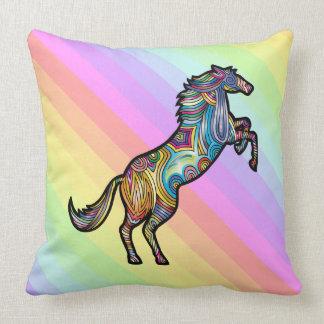Rainbow Horse on Colourful Rainbow Background Throw Pillow