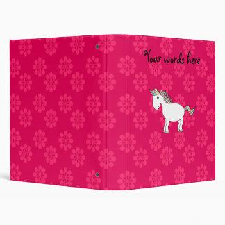 Rainbow horse pink flowers binder