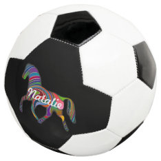 Rainbow horse  - your name soccer ball at Zazzle