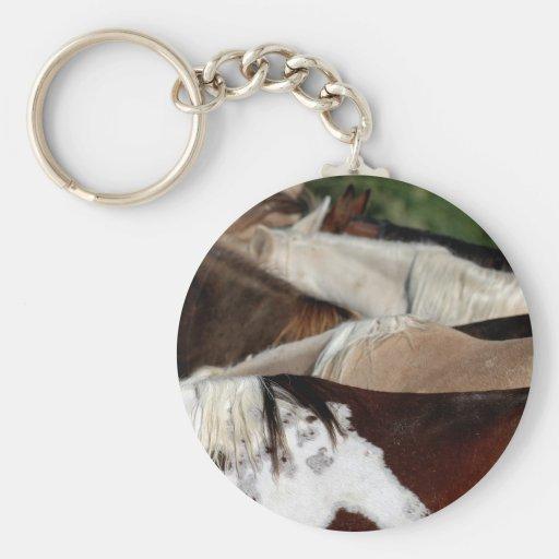 Rainbow Horses Basic Round Button Keychain