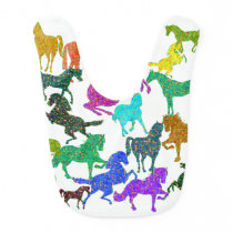 "Rainbow Horses - ""Dotty about Horses!"" Baby Bib"