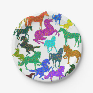 """Rainbow Horses - """"Dotty about Horses!"""" Paper Plate"""