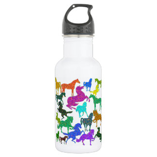 """Rainbow Horses - """"Dotty about Horses!"""" Water Bottle"""