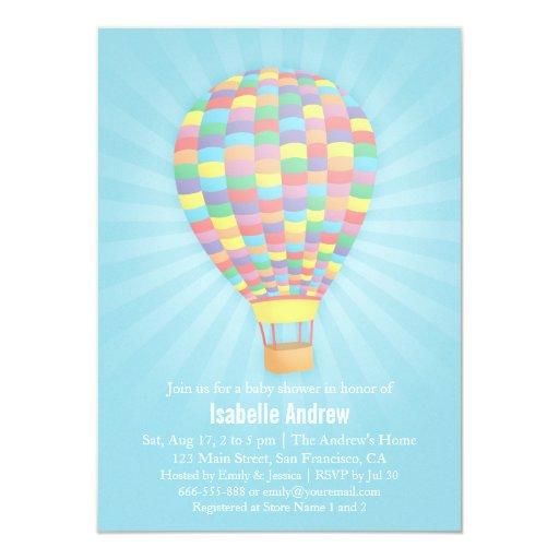 rainbow hot air balloon baby shower invitations zazzle