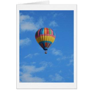 Rainbow Hot Air Balloon Flying in the Sky Card