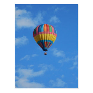 Rainbow Hot Air Balloon Flying in the Sky Postcard