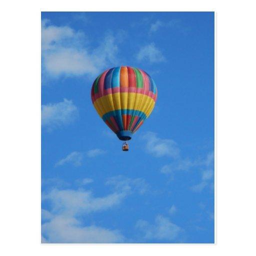 Rainbow Hot Air Balloon Flying in the Sky Postcard
