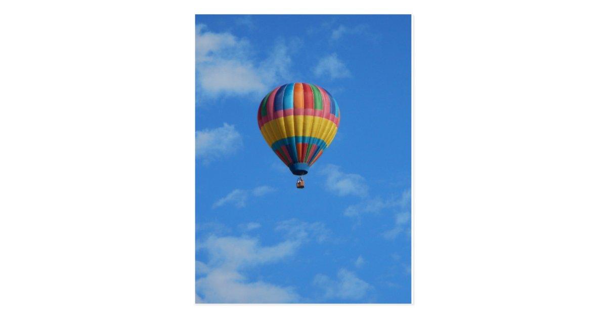 Rainbow Hot Air Balloon Flying in the Sky Postcard ...