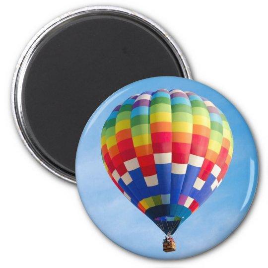 Rainbow hot air balloon magnet