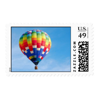 Rainbow hot air balloon postage stamp