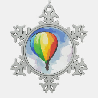 Rainbow Hot Air Balloon Snowflake Pewter Christmas Ornament