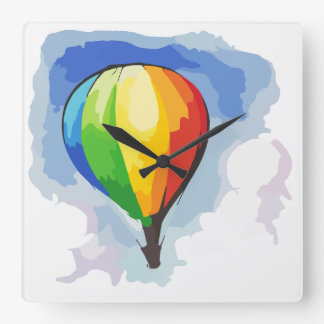 Rainbow Hot Air Balloon Square Wall Clock