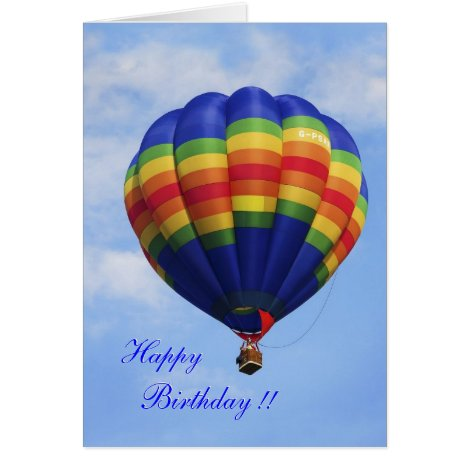 Rainbow Hot Air Ballooning birthday card