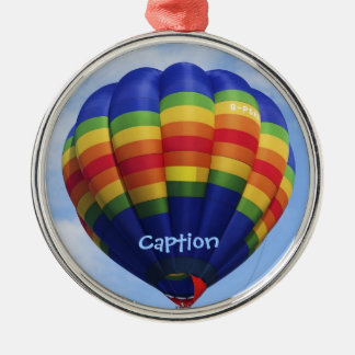 Rainbow Hot Air Ballooning Metal Ornament