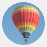Rainbow hot air baloon classic round sticker