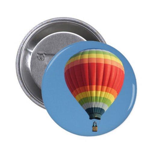 Rainbow hot air baloon pinback button