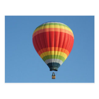 Rainbow hot air baloon postcard