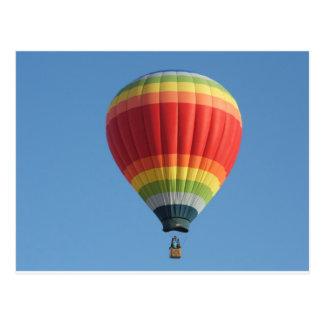 Rainbow hot air baloon postcard