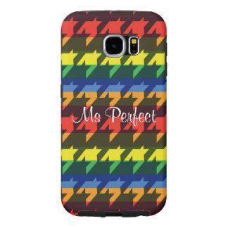 Rainbow houndstooth stripe samsung galaxy s6 case
