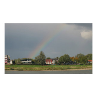 Rainbow House on River Photo Poster Art