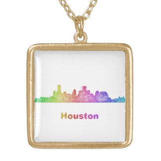 Rainbow Houston skyline Gold Plated Necklace