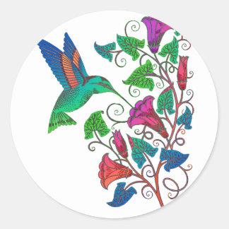 Rainbow Hummingbird Classic Round Sticker