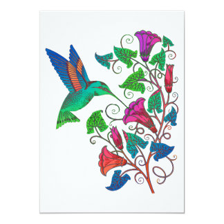 "Rainbow Hummingbird 5"" X 7"" Invitation Card"