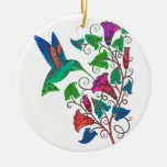 Rainbow Hummingbird Double-Sided Ceramic Round Christmas Ornament