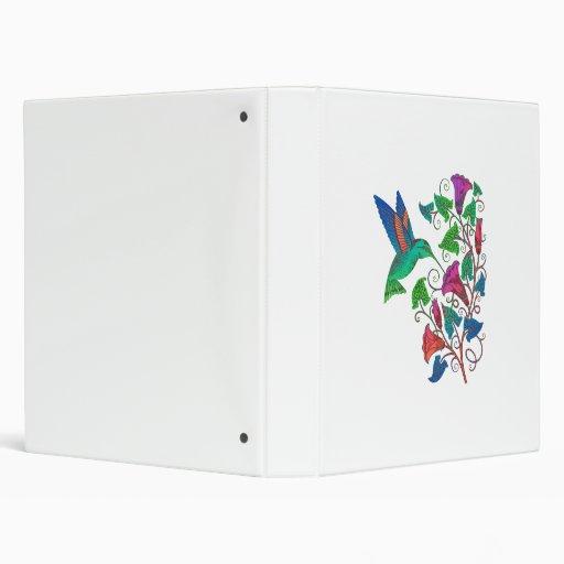 Rainbow Hummingbird Vinyl Binder