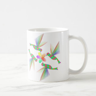 Rainbow Hummingbirds Kissing A Flower Coffee Mug