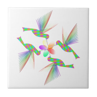 Rainbow Hummingbirds Kissing A Flower Tile