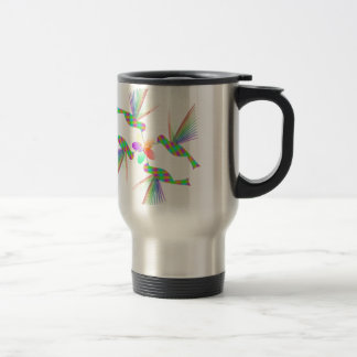 Rainbow Hummingbirds Kissing A Flower Travel Mug