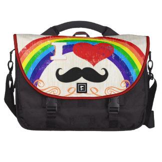 Rainbow I Heart Mustache Commuter Bag