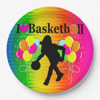 RAINBOW I LOVE BASKETBALL PAPER PLATES