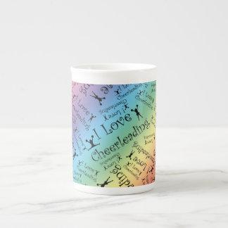 Rainbow I love cheerleading Porcelain Mugs