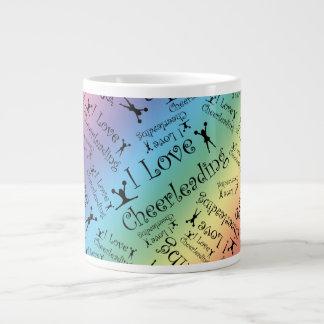 Rainbow I love cheerleading Extra Large Mug
